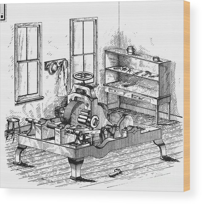 1850 Wood Print featuring the photograph Screw-making Machine by Granger