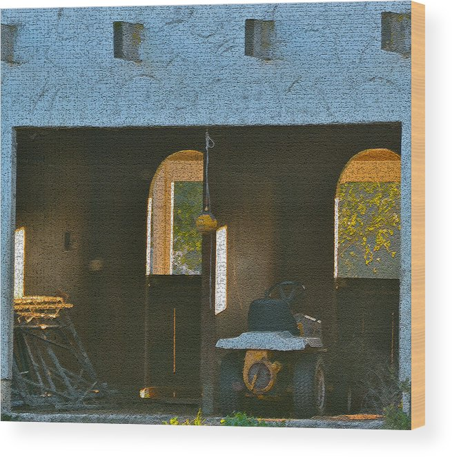 Digital Photos Wood Print featuring the photograph Two Tractor Garage by Bill Owen