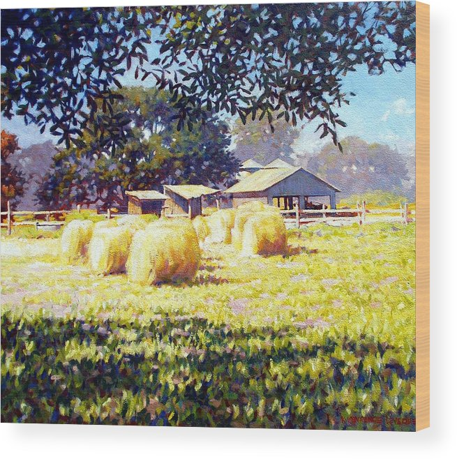 Hay Wood Print featuring the painting Jenny Rays Farm by Kevin Lawrence Leveque