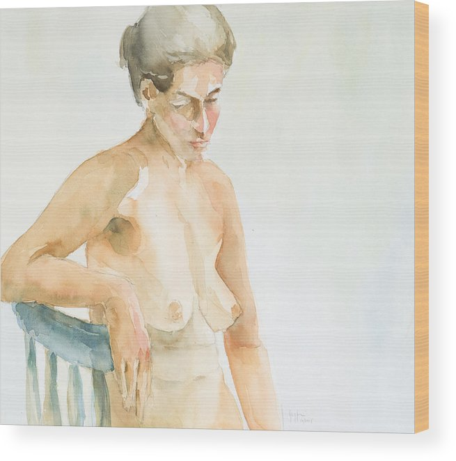 Nude Woman Wood Print featuring the painting Nude Series by Eugenia Picado