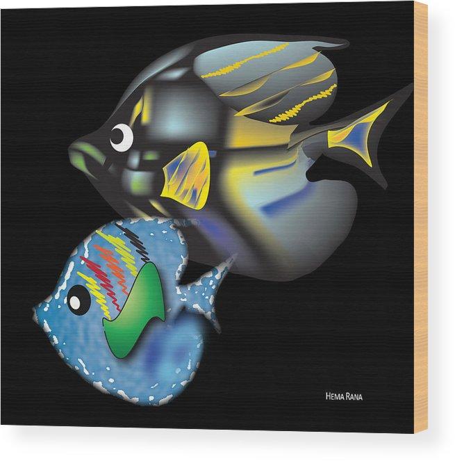 Fishes Wood Print featuring the digital art Fish Illustration by Hema Rana
