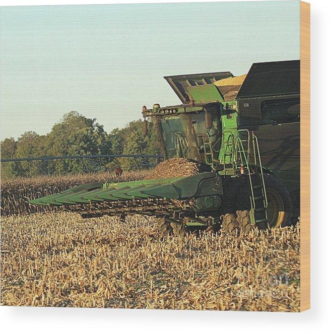 John Wood Print featuring the photograph John Deere Combine by Scott D Van Osdol