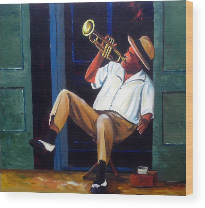 Cuba Art Wood Print featuring the painting My Trumpet by Jose Manuel Abraham