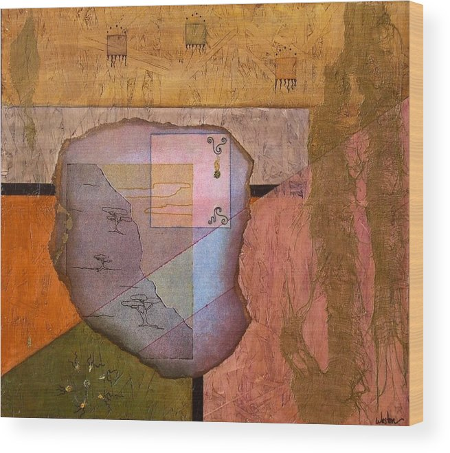 Abstract Landscape Wood Print featuring the painting Pheromones by Katherine Weston
