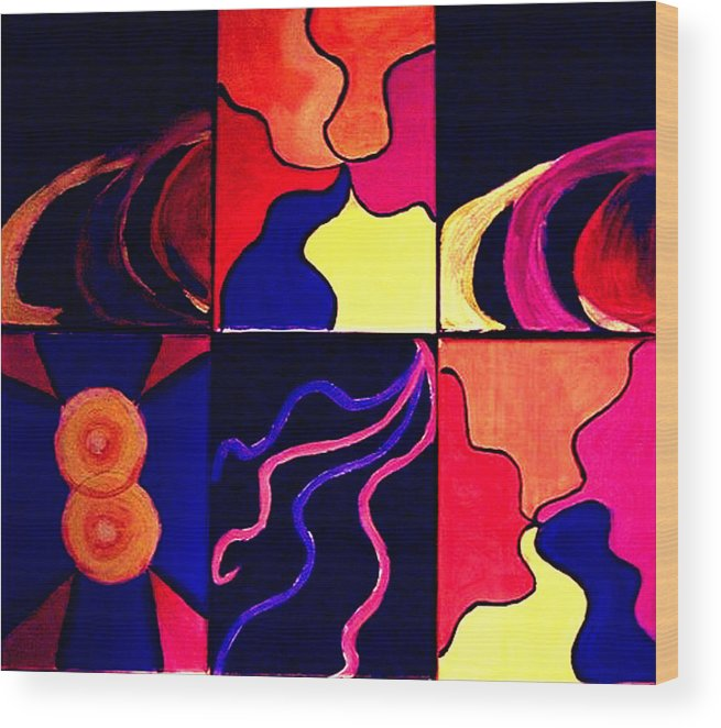 Abstract Wood Print featuring the painting Psychedelia by Rusty Gladdish