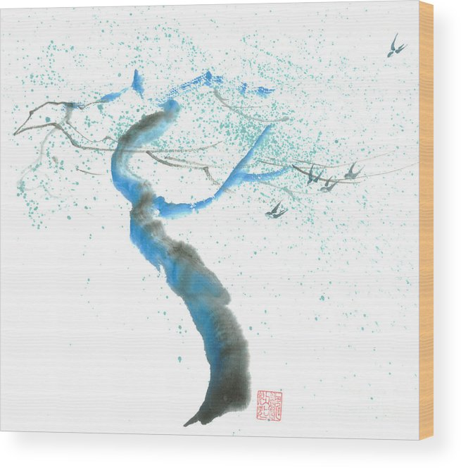A Swaying Tree With Birds Wood Print featuring the painting Strong Wind by Mui-Joo Wee