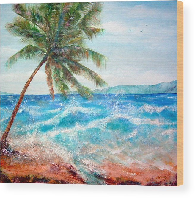 Ocean Wood Print featuring the painting Sunset Beach Hawaii by Cheryl Ehlers