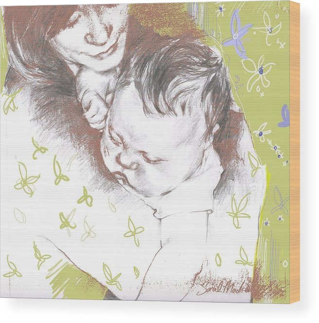 Portrait Wood Print featuring the painting Tenderness In Green by Sarah Madsen