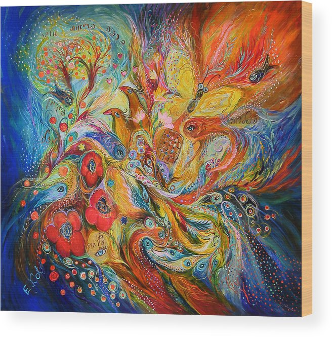 Original Wood Print featuring the painting The Passion Of Ultramarine by Elena Kotliarker