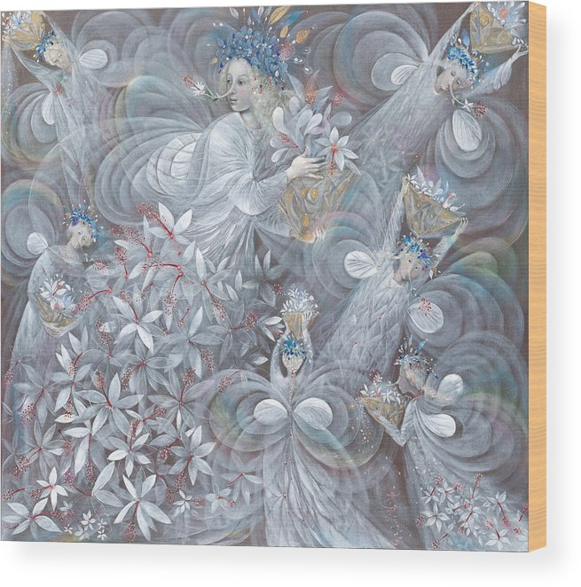 Hibiscus Wood Print featuring the painting The White Hibiscus by Annael Anelia Pavlova