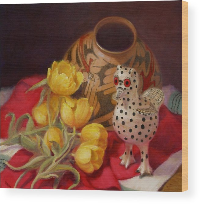 Realism Wood Print featuring the painting Tulips And Pottery by Donelli DiMaria