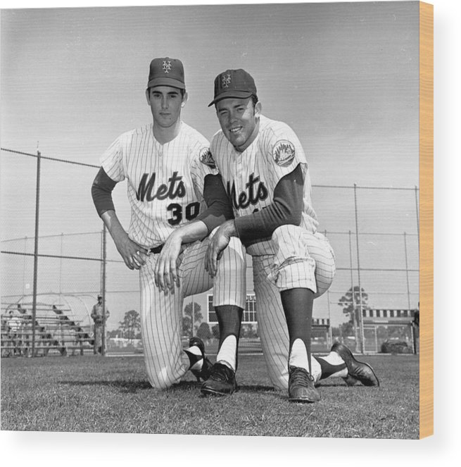 American League Baseball Wood Print featuring the photograph New York Mets Texas Battery Nolan Ryan by New York Daily News Archive