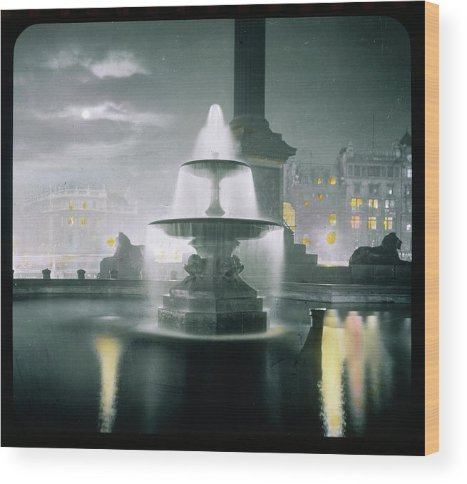 Trafalgar Wood Print featuring the photograph Trafalgar Square At Night Showing by Mary Evans Picture Library