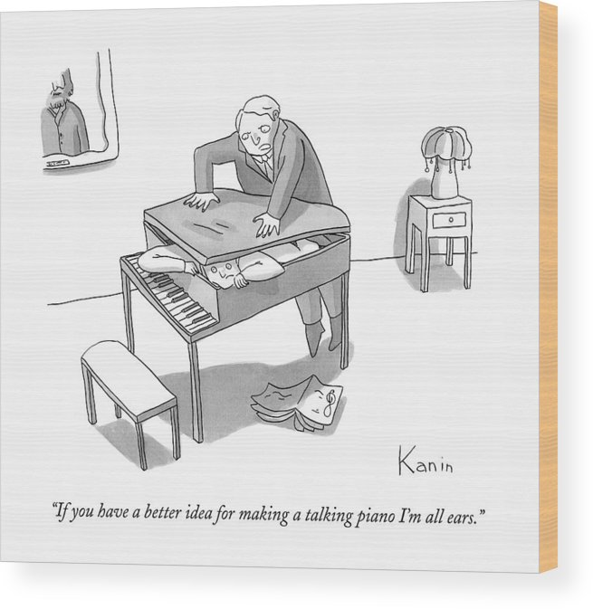 Piano Wood Print featuring the drawing If You Have A Better Idea For Making A Talking by Zachary Kanin