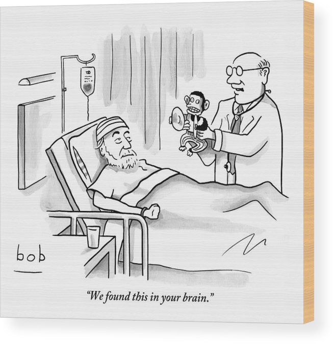 Doctor And Patient Wood Print featuring the drawing A Doctor Shows A Tambourine Monkey Toy by Bob Eckstein