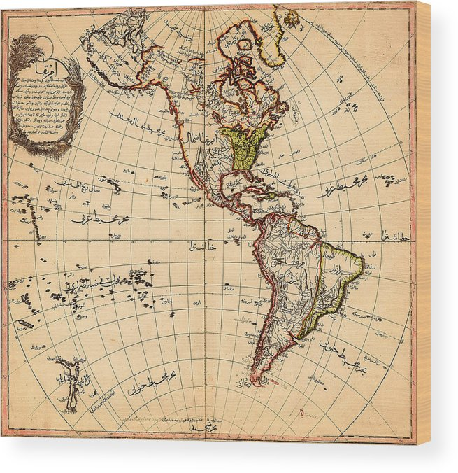 Amtique Map Americas Wood Print featuring the painting Amtique Map Americas by MotionAge Designs