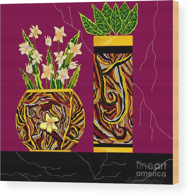 Vases Wood Print featuring the digital art Decorating With Style by Lewanda Laboy