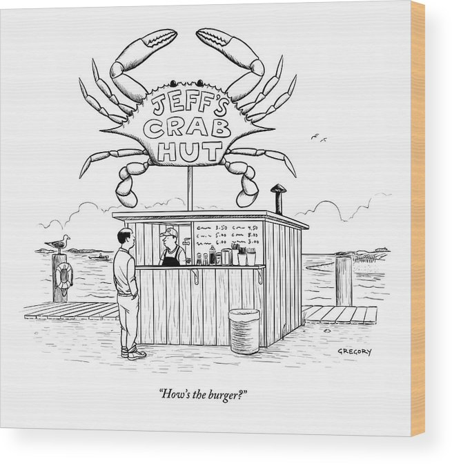 Crab Wood Print featuring the drawing Jeff's Crab Hut by Alex Gregory