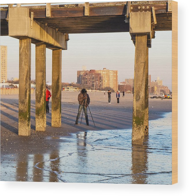 Coney Island Wood Print featuring the photograph Photographer Under The Pier by Frank Winters