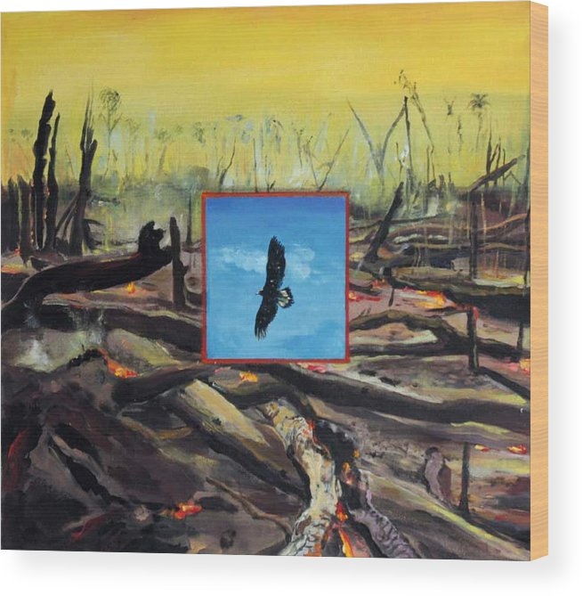 Eagle Wood Print featuring the painting Man-made by Karim Lachheb