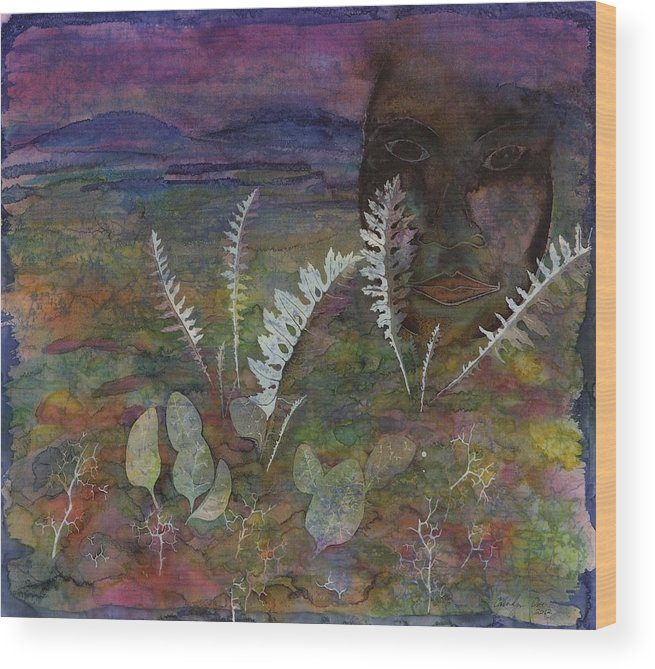 Face Wood Print featuring the tapestry - textile Spirit On The Tundra by Carolyn Doe