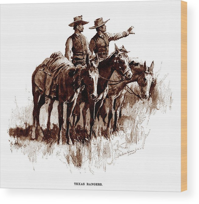 1890s Wood Print featuring the photograph Texas Rangers, Lithograph Of A Wash by Everett