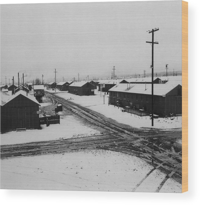 1940s Candid Wood Print featuring the photograph World War II, Winter Storm, Manzanar by Everett