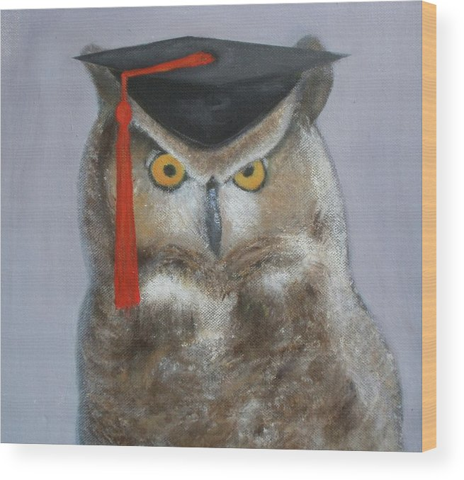 Owl Wood Print featuring the painting Owl by Marie Higgins