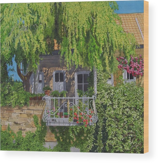 Rural Wood Print featuring the mixed media Balcony With Flowers by Constance Drescher