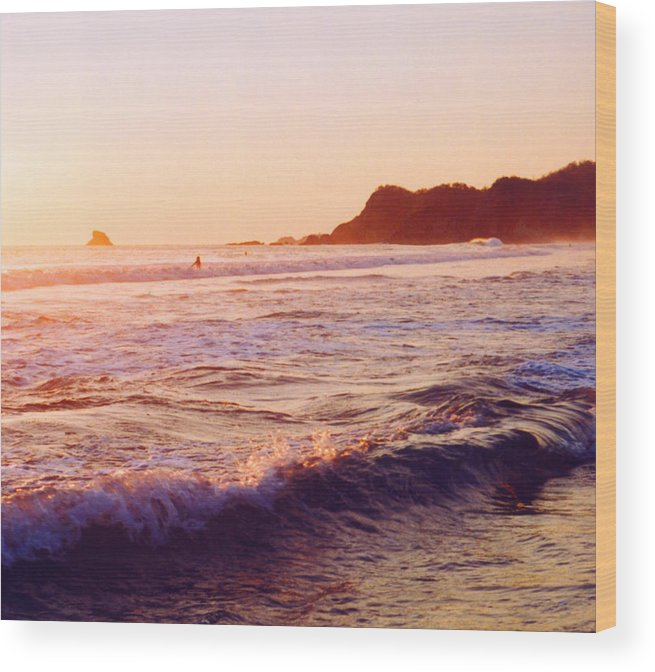 Surf Wood Print featuring the photograph Warm Sunset In Zipolite 3 by Lyle Crump