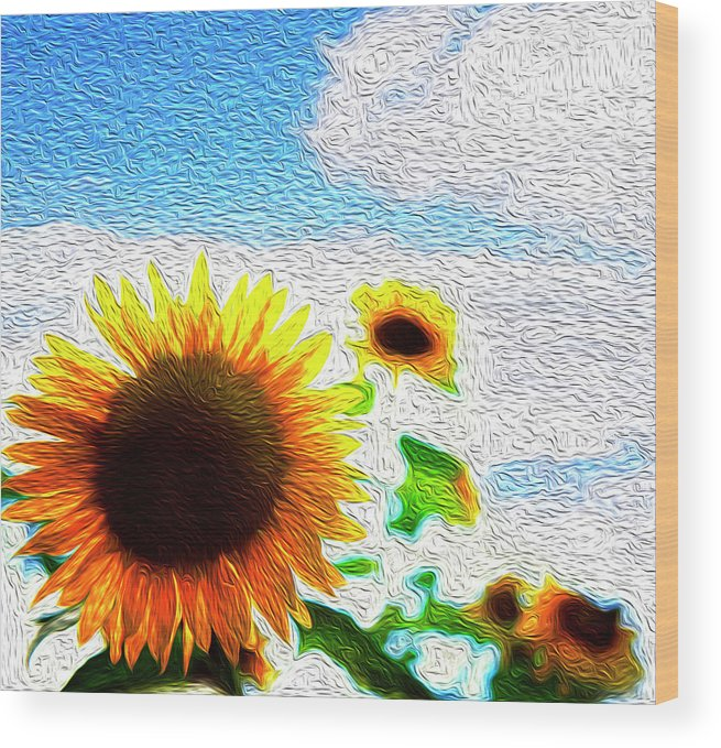 Beautiful Wood Print featuring the digital art Sunflowers Abstract by Les Cunliffe