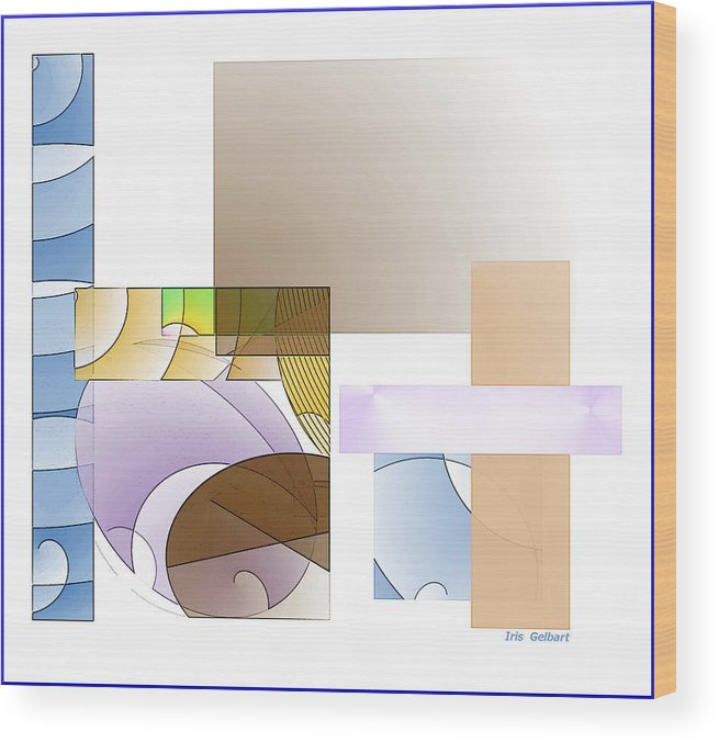 Abstract Wood Print featuring the digital art Abstract #503 by Iris Gelbart
