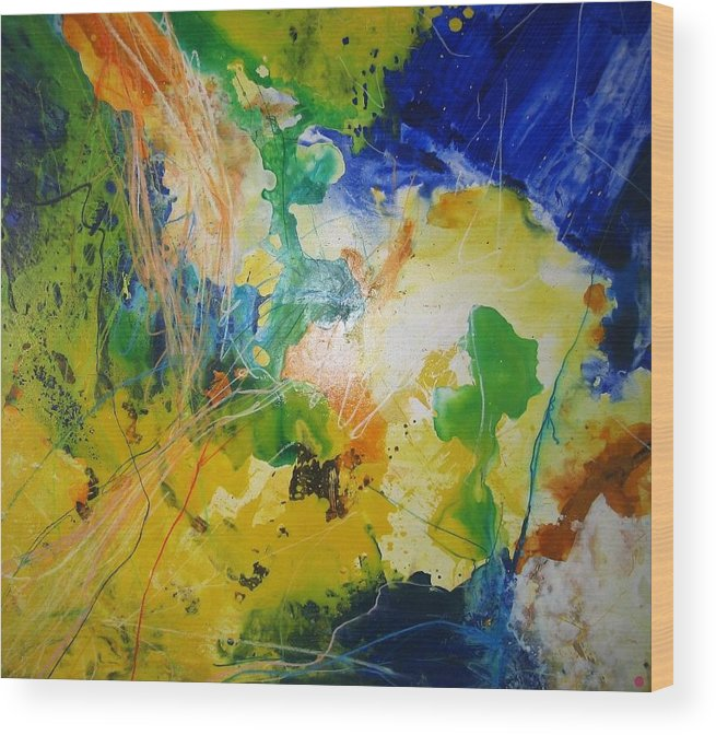 Abstract Wood Print featuring the painting Abstraktes Bild 18 by Eckhard Besuden
