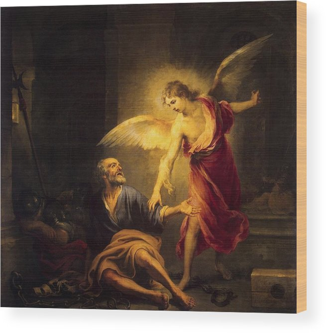 Liberation Of St. Peter - Bartolome Esteban Murillo Wood Print featuring the painting Bartolome Esteban Murill by MotionAge Designs