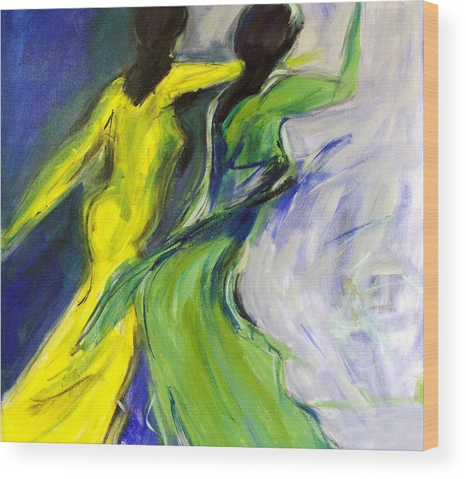 Women Wood Print featuring the painting Colorful Women by Gunter Kreil