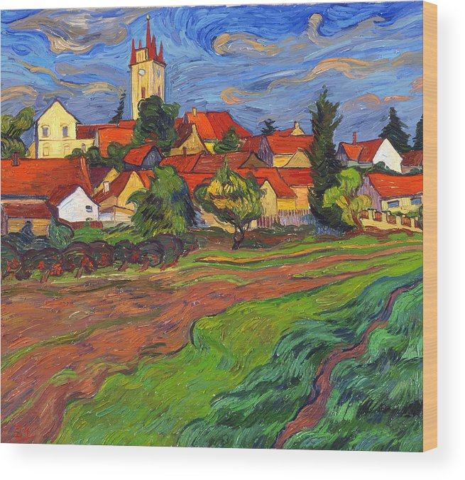 Landscape Wood Print featuring the painting Country With The Red Roofs by Vitali Komarov