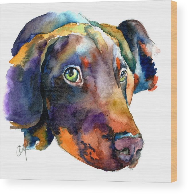 Doberman Wood Print featuring the painting Doberman Watercolor by Christy Freeman