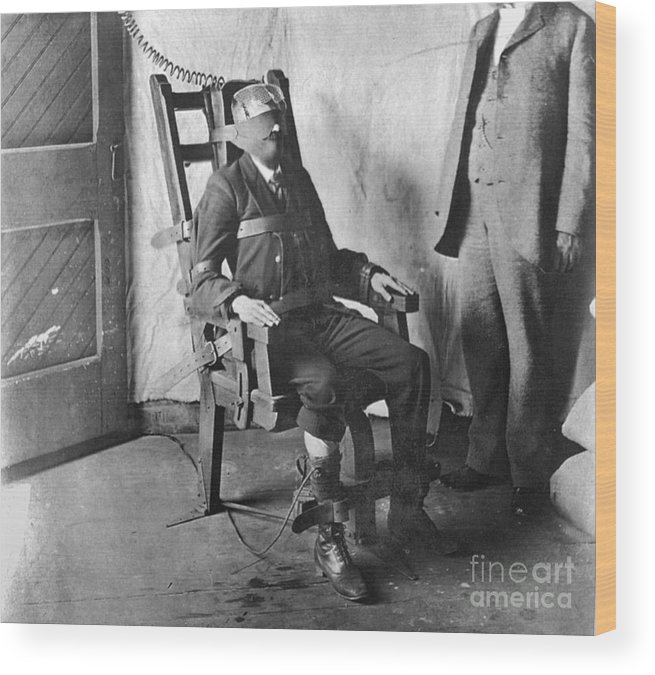 1908 Wood Print featuring the photograph Electric Chair, 1908 by Granger