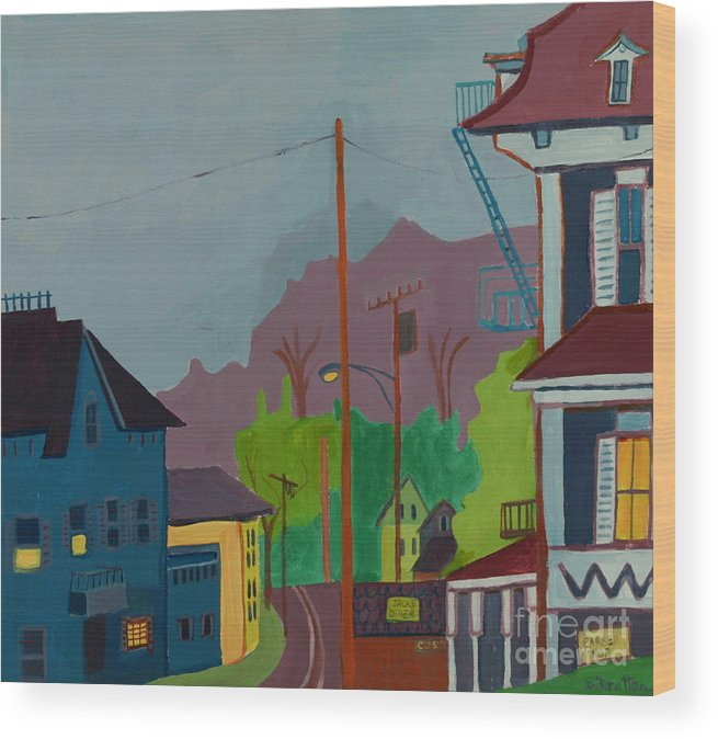 Town Wood Print featuring the painting Evening In Town by Debra Bretton Robinson