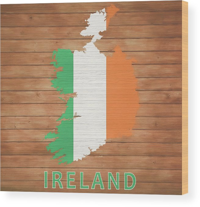 Ireland Wood Print featuring the mixed media Ireland Rustic Map On Wood by Dan Sproul