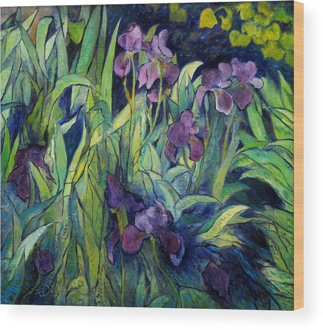 Irises Provence. Impressionism. Enver Larney. Fine Art. Landscapes Wood Print featuring the painting Irises At High Altitude Auribeau France 2004  by Enver Larney