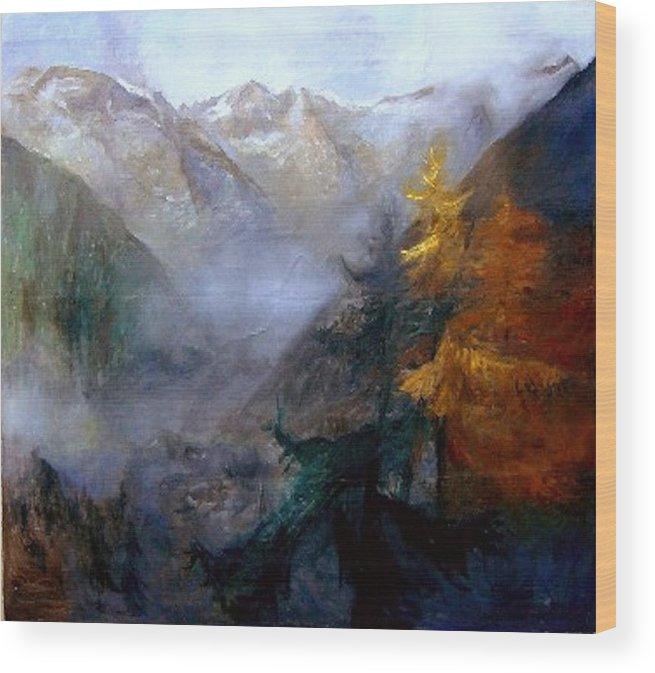 Landscapes Wood Print featuring the painting Mallnitz Austria by Elisabeth Nussy Denzler von Botha