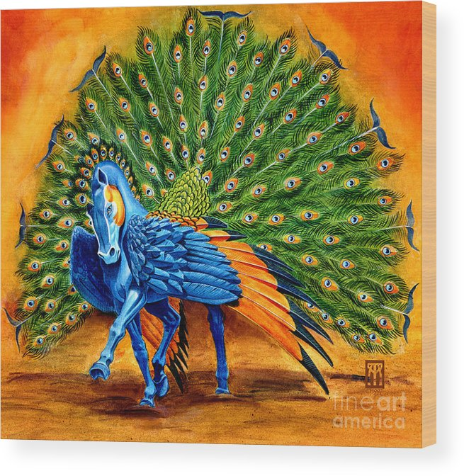Horse Wood Print featuring the painting Peacock Pegasus by Melissa A Benson