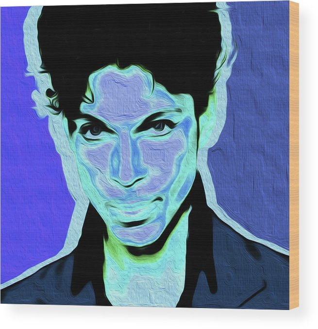 Prince Rogers Nelson Wood Print featuring the painting Prince Blue Nixo by Never Say Never