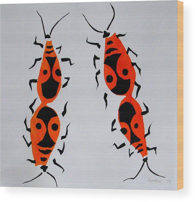 Bug Wood Print featuring the painting Red Bugs by Vitali Komarov