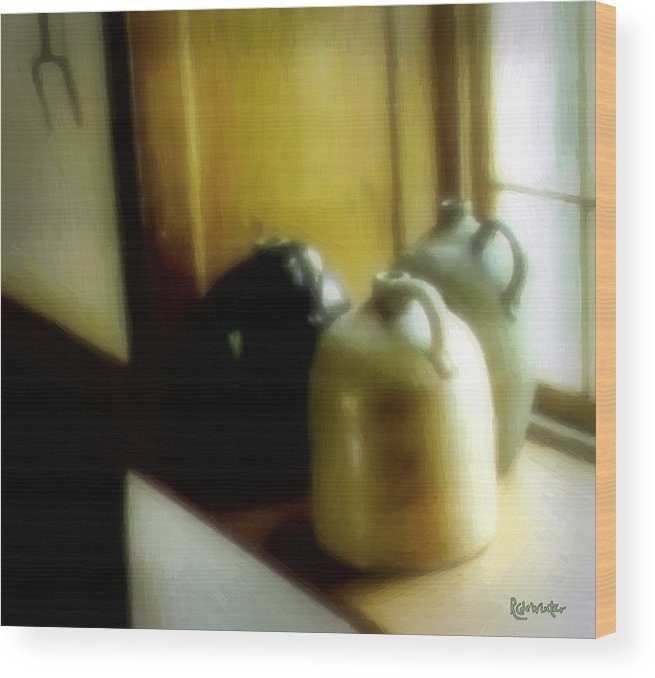 Antiques Wood Print featuring the digital art Still Life With Stoneware by RC DeWinter
