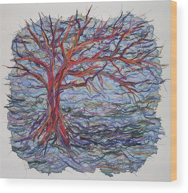 Tree Growth Textile Thread Paper Wood Print featuring the painting String Tree - Growing By A Thread by Sally Van Driest