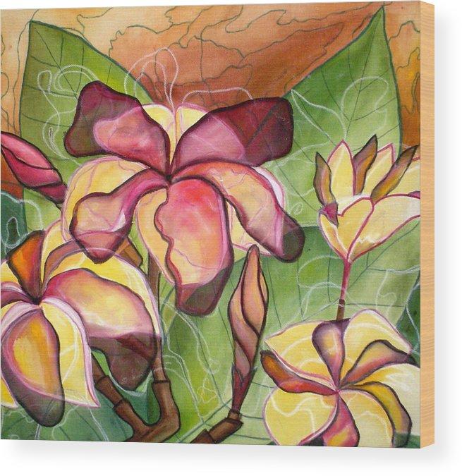 Plumeria Wood Print featuring the painting Vivian's Plumeria by Kimberly Kirk