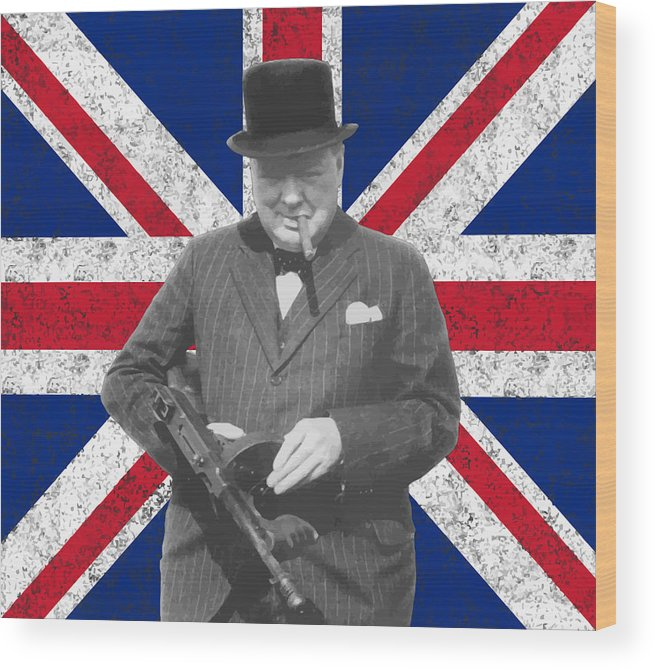 Winston Churchill Wood Print featuring the painting Winston Churchill And His Flag by War Is Hell Store