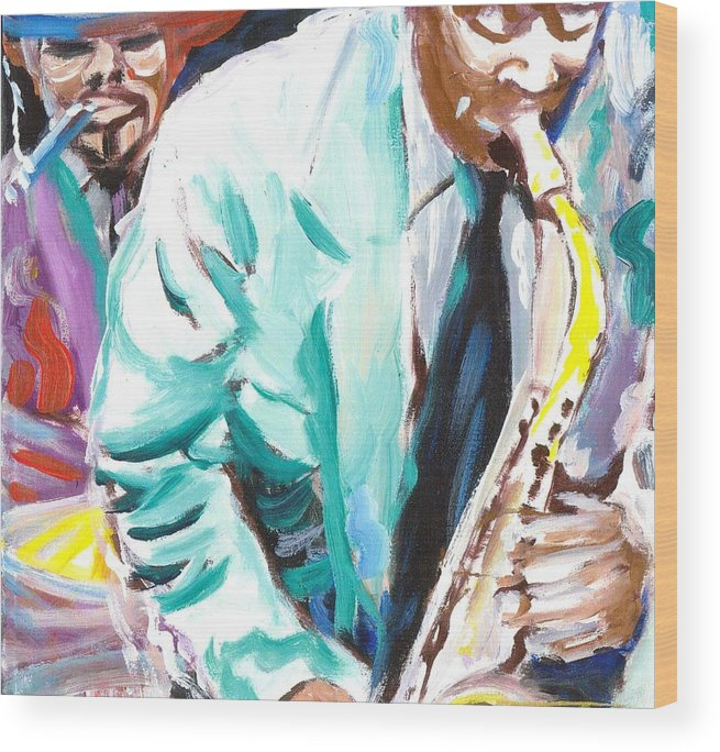 Jazz Wood Print featuring the painting Jazz Jam 1940's by Jonathan Tyson